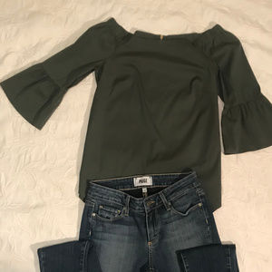 WHBM Olive Green Off the Shoulder Top XXS